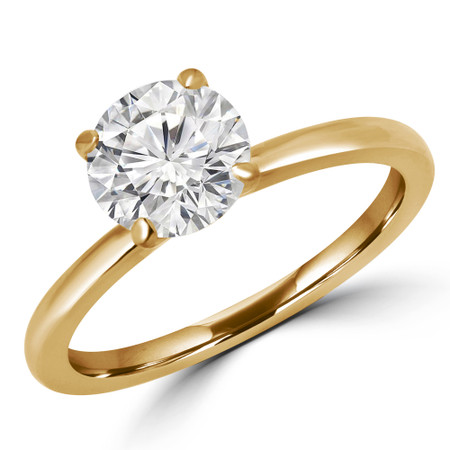 Round Cut Solitaire Engagement Ring in Yellow Gold - #ANKSOL-Y