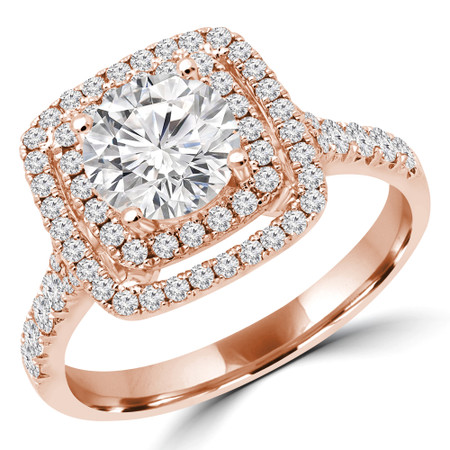 Round Double Halo Multi-stone Engagement Ring in Rose Gold - #BAILEY-R