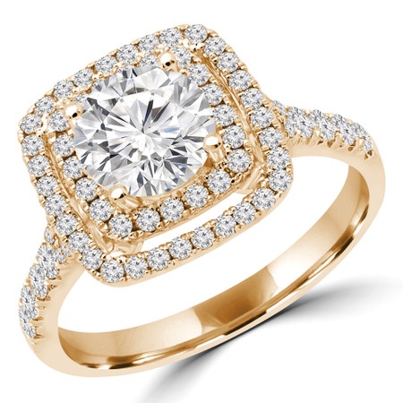 Round Double Halo Multi-stone Engagement Ring in Yellow Gold - #BAILEY-Y