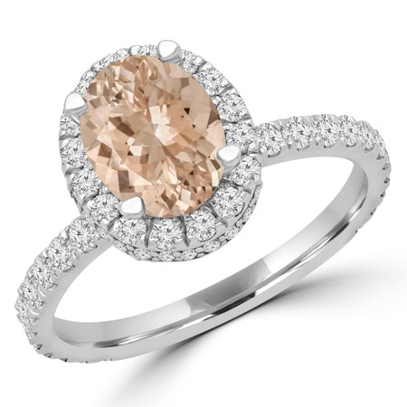 Oval Pink Morganite Halo Engagement Ring in White Gold - #CAIT-W