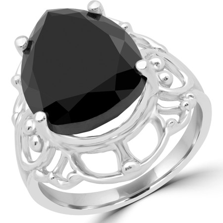 Pear Black Diamond Solitaire Engagement Ring in White Gold - #D166-W