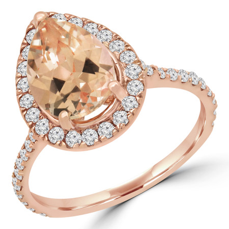 Pear Pink Morganite Halo Engagement Ring in Rose Gold - #DARIO-R