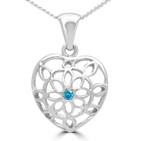 Round Blue Diamond Heart Pendant Necklace in White Gold With Chain - #E238-W