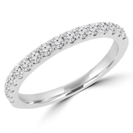 Round Diamond Semi-Eternity Wedding Band Ring in White Gold - #ELIAS-BAND-HALF-W
