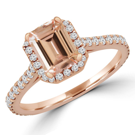 Emerald Pink Morganite Halo Engagement Ring in Rose Gold - #EMERALD-R