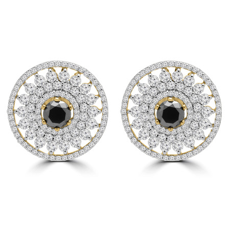 Round Black Diamond Quadruple Halo Earrings in Yellow Gold - #ER000681A-Y