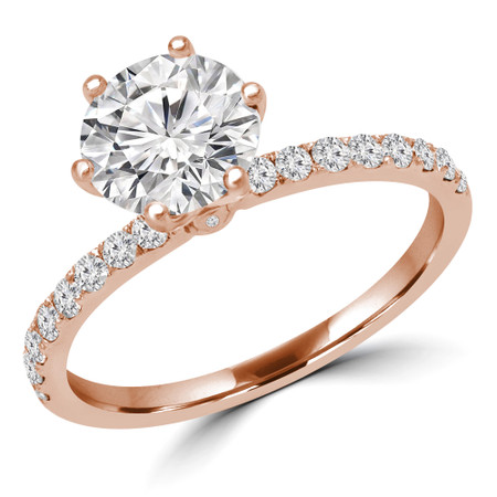 Round Cut Multi-stone Engagement Ring in Rose Gold - #GOLDEN-R