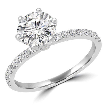 Round Cut Multi-stone Engagement Ring in White Gold - #GOLDEN-W