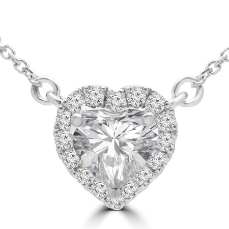 Heart Diamond Halo Pendant Necklace in White Gold With Chain - #HALOHEART-W