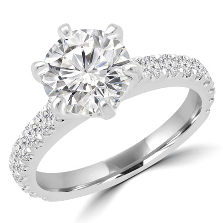 Round Multi-stone Engagement Ring in White Gold - #HARPER-W