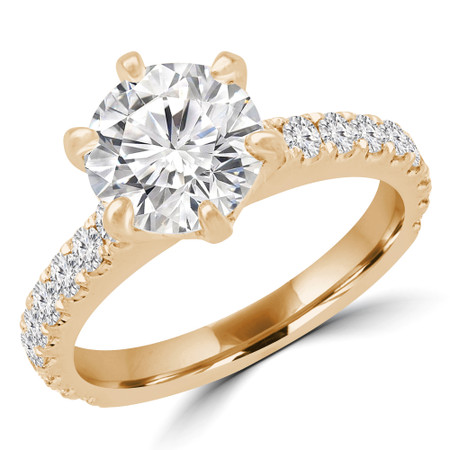 Round Multi-stone Engagement Ring in Yellow Gold - #HARPER-Y