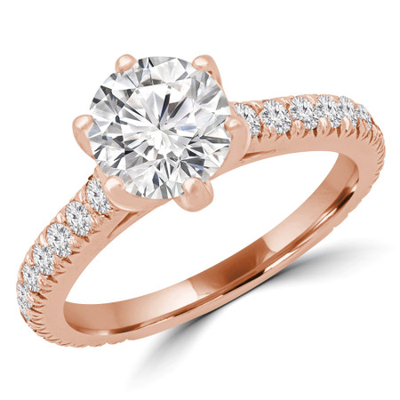 Round Multi-stone Engagement Ring in Rose Gold - #HELENA-R