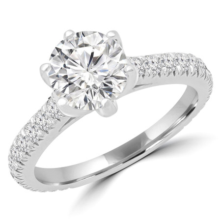 Round Multi-stone Engagement Ring in White Gold - #HELENA-W
