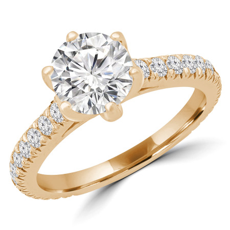 Round Multi-stone Engagement Ring in Yellow Gold - #HELENA-Y