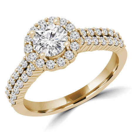 Round Diamond Two Row Halo Engagement Ring in Yellow Gold - #HOLLY-Y