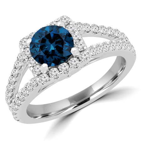 Round Blue Diamond Halo Engagement Ring in White Gold - #HR6200-NEW-BLUE-W