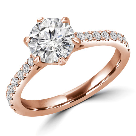 Round Cut Multi-stone Engagement Ring in Rose Gold - #INSTA-R