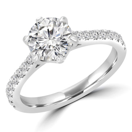 Round Cut Multi-stone Engagement Ring in White Gold - #INSTA-W