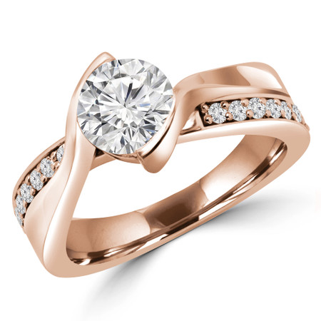 Round Cut Multi-stone Engagement Ring in Rose Gold - #JAVIER-R