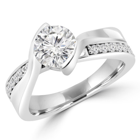 Round Cut Multi-stone Engagement Ring in White Gold - #JAVIER-W
