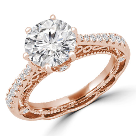 Round Multi-stone Engagement Ring in Rose Gold - #KOJI-R