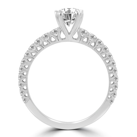Round Diamond Multi-stone Engagement Ring in White Gold - #M0972RD-W