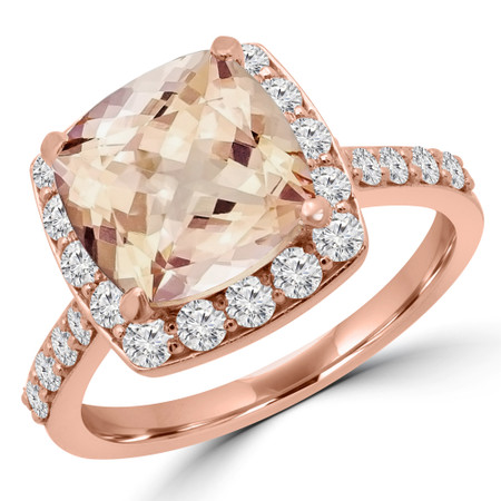 Cushion Pink Morganite Halo Engagement Ring in Rose Gold - #MARTHA-R