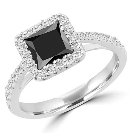 Princess Black Diamond Halo Engagement Ring in White Gold - #MD0006-W