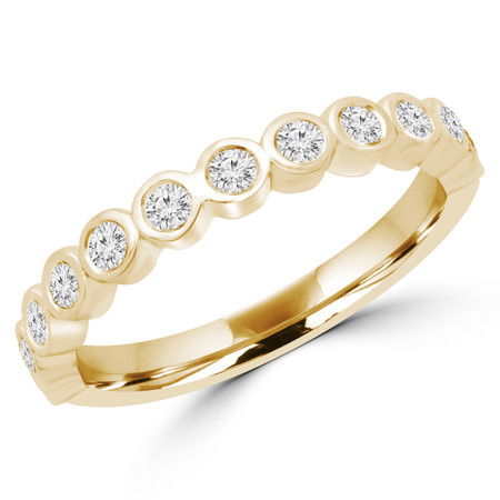Round Diamond Bezel Set Semi-Eternity Wedding Band Ring in Yellow Gold - #MERCHE-B-Y