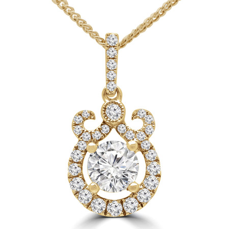 Round Diamond Vintage Halo Pendant Necklace in Yellow Gold With Chain - #MP00155B-Y