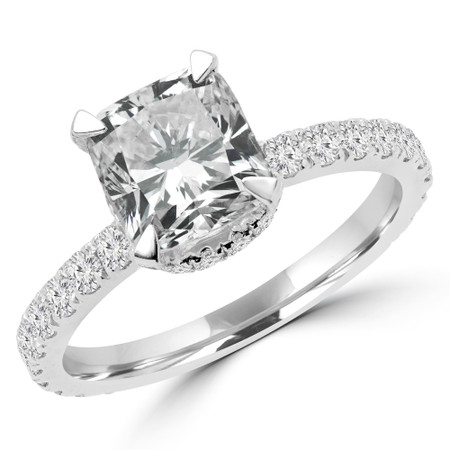 Cushion Diamond Multi-stone Engagement Ring in White Gold - #NATTY-W
