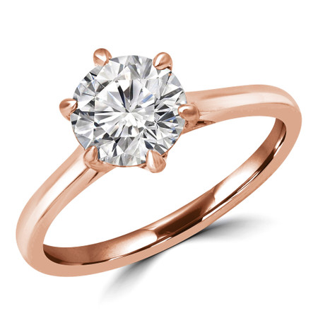 Round Cut Solitaire Engagement Ring in Rose Gold - #PAEZ-R