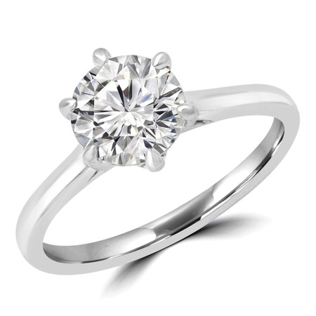 Round Cut Solitaire Engagement Ring in White Gold - #PAEZ-W