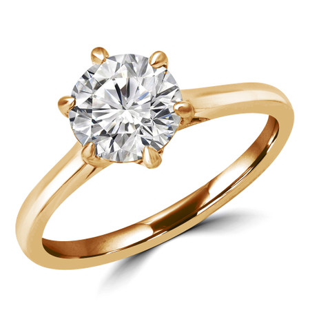Round Cut Solitaire Engagement Ring in Yellow Gold - #PAEZ-Y