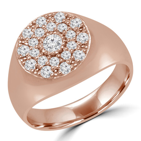 Round Diamond Pinky Cluster Ring in Rose Gold - #PINKY-R