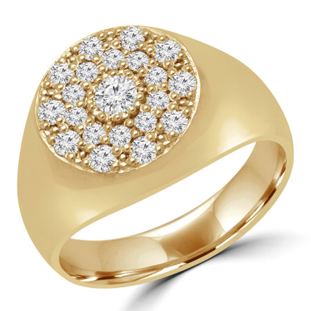 Round Diamond Pinky Cluster Ring in Yellow Gold SIZE 4 TO 7 - #PINKY-Y