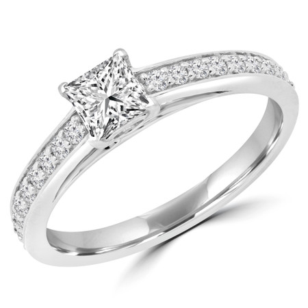 Princess Diamond Multi-stone Engagement Ring in White Gold - #RG001113A-W