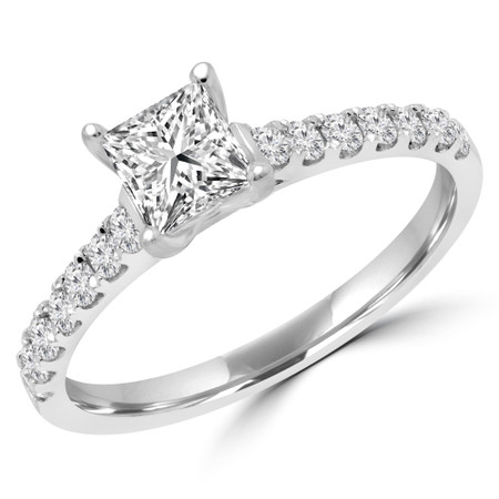 Princess Diamond Multi-stone Engagement Ring in White Gold - #RG001125A-W