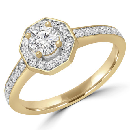 Round Diamond Octagon Halo Engagement Ring in Yellow Gold - #RG001477A-Y