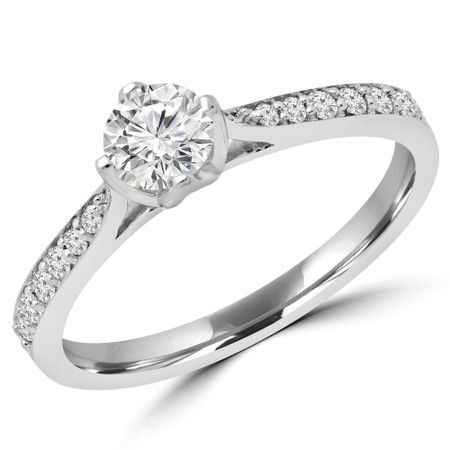 Round Diamond Multi-stone Engagement Ring in White Gold - #RG001715A-W