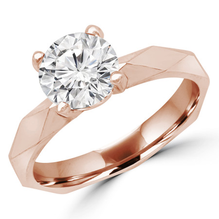 Round Cut Solitaire Engagement Ring in Rose Gold - #RIA-R
