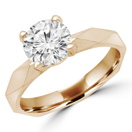 Round Cut Solitaire Engagement Ring in Yellow Gold - #RIA-Y