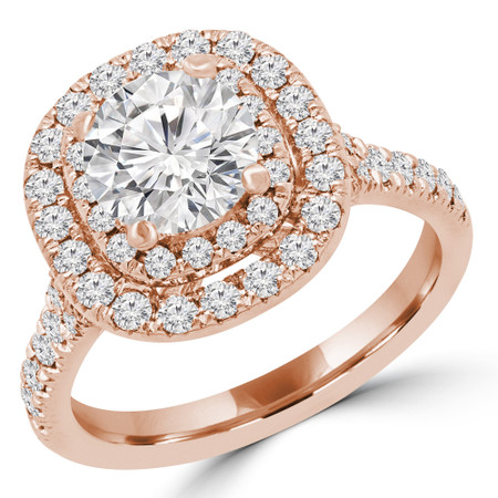 Round Halo Multi-stone Engagement Ring in Rose Gold - #SOLESTE-R