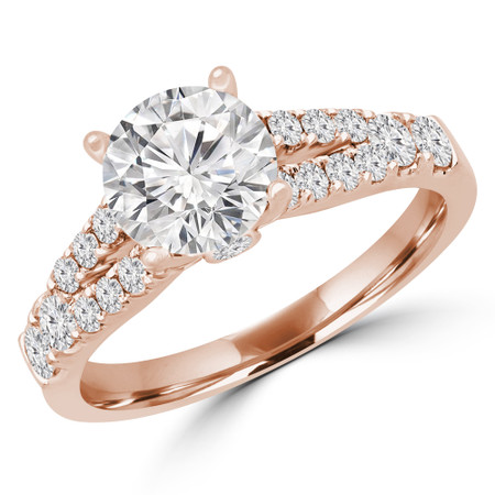 Round Cut Diamond Split-Shank 4-Prong Multi-stone Engagement Ring in Rose Gold - #VIVIAN-R