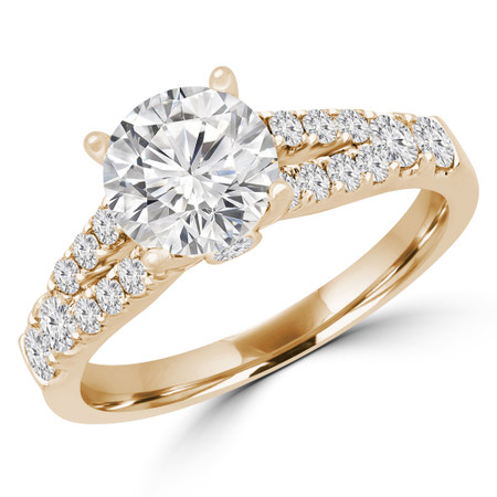 Round Cut Diamond Split-Shank 4-Prong Multi-stone Engagement Ring in Yellow Gold - #VIVIAN-y