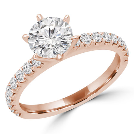 Round Multi-stone Engagement Ring in Rose Gold - #ZOEY-R