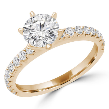 Round Multi-stone Engagement Ring in Yellow Gold - #ZOEY-Y