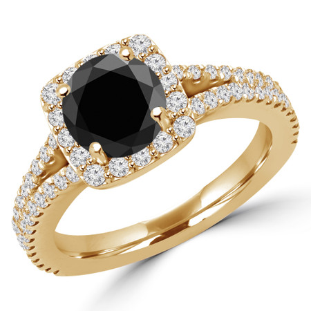 Round Black Diamond Multi-stone Engagement Ring in Yellow Gold - #ANA-BLK-Y
