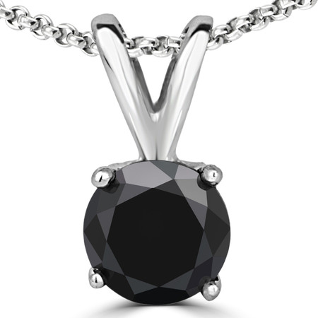 Round Cut Black Diamond Solitaire 4-Prong Y-Bail Pendant Necklace with Chain in White Gold - #P4R-W-BLK