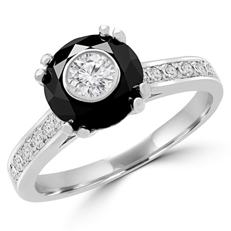 Round Black Diamond Double Prong Simion Multi-stone Engagement Ring in White Gold - #SM2361-SIMION-W